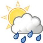 sunny with rain